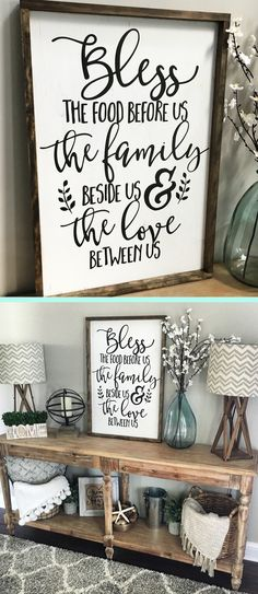 Love this rustic farmhouse wood sign for my dining room! Bless the food before us, the family beside us, and the love between us.#farmhouse #diningroom #woodsign #homedecor #ad