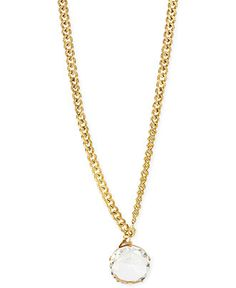 Betsey Johnson Gold-Tone Round Crystal Pendant Long Necklace - Fashion Jewelry - Jewelry & Watches - Macy's NOTE LOBSTER CLOSURE PLACEMENT