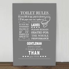 Tekstbord Toilet Rules. Diverse kleuren - vanaf €17,95Sfeervol Thuis