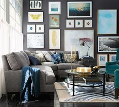 Design Tip: Alternate between different frame sizes for a vast and varied gallery wall.