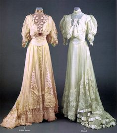 Left: Callot Soeurs, 1905. Monobosom bodice of draped chiffon & pintucked tulle, embroidered with garlands of pastel flowers from shoulder to waist. Flowers repeated at sleeve ends. Pink jeweled ornaments at front & back center. Skirt trimmed with elaborate picotéed ribbonwork & finely folded chiffon worked in wing forms. Blonde lace ruffles, train. No info on Drécoll dress on the right. Sotheby's/Artfact