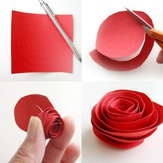 DIY paper roses as hair pieces are guests