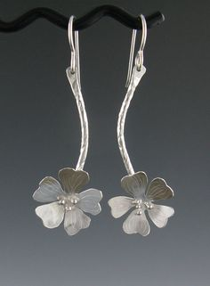 Sterling Silver Cherry Blossom Dangle by annewalkerjewelry on Etsy