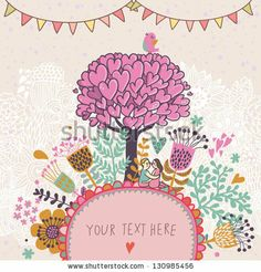 Love tree concept illustration. Cartoon floral background in vector made if flowers, tree, hearts and bird. Romantic floral wallpaper by smilewithjul, via ShutterStock