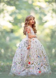 Ball Gown Girls Pageant Dresses Embroidery Flowers Sheer Long Sleeves Flower Girl Dresses For Wedding Children Handmade Kids Party Dress Little Girl Gowns, Gowns For Girls, Girls Dresses, Flower Girl Dresses, Flower Girls, Clothes For Girls, Little Girl Pageant Dresses, Little Princess, Little Girl Princess Dresses