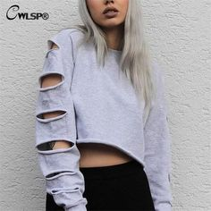 Sexy Sweatshirt Women Long Sleeve Holes Hollow Out Crop Top