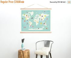 Introducing our new 36x24 interactive world map (+ 40 reusable stickers). The perfect piece to decorate with the provided stickers (animals,