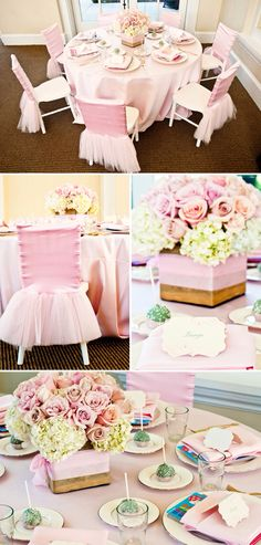 Pink baby shower. Chairs wrapped with satin and tulle. Centerpieces of roses hydrangeas and cake balls for favors