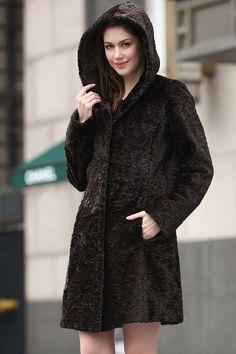 5a931fd256 DARK BROWN REX RABBIT   MINK BLENDING FAUX FUR HOODED COAT . Faux Fur  Hooded Coat. Adelaqueen