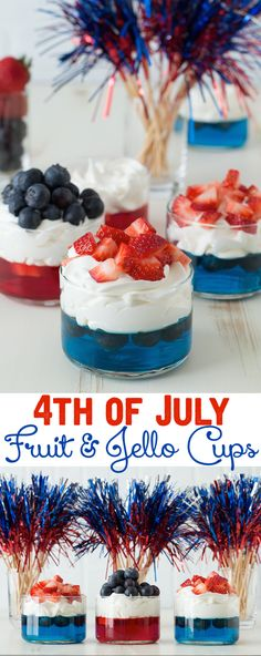 4th of July Fruit & Jello Cups - these are perfect for the 4th of July, and super easy to make!