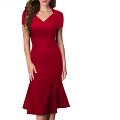 >> Click to Buy << Plue size2017 Elegant Slim Short Sleeve Women's Summer Red Dress Stitching V-neck High-calf and calf Work Pencil Dress Vestidos  #Affiliate