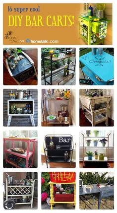 Organize with bar carts ~ so many different style and use options.  I'm adding this to my summer yard sale list of 'to buys'.