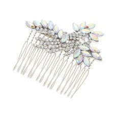 Iridescent Crystal Marquis and Rhinestone Swirl Hair Comb