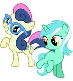 Filly Lyra and Bon Bon by Midnight--Blitz on DeviantArt Mlp, Fluttershy, Lyra Heartstrings, Imagenes My Little Pony, My Little Pony Friendship, Smurfs, Cartoons, Ships, Deviantart