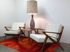 Pair of Danish Mid Century Modern Style Teak Lounge Chairs - Selig Z Style Chair