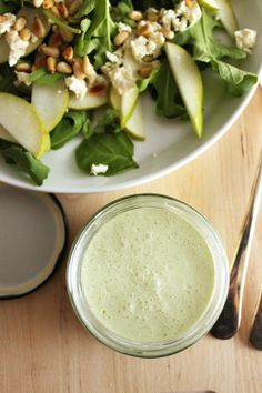 Lowfat Creamy dressing - Greek Yogurt Salad Dressing Recipe:    1 cup  non-fat Greek yogurt (I use FAGE brand.)  2 cloves of garlic  1 teaspoon onion powder or 1/8 minced red onion  1/4 teaspoon or more sea salt  1 Tablespoon Dijon mustard  pepper to taste  6 pinches stevia, or to taste  2  Tablespoon filtered water