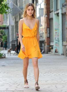 Stunner:Jamie Chung, 34, looked ready for the warm weather as she was seen in a tiny sundress in New York City on Tuesday