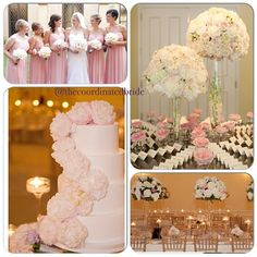 Blush pink and ivory wedding decor, escort card table design, bridesmaid dresses and wedding cake Cyn Kain photography
