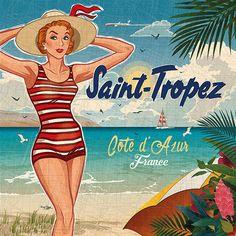Vintage Labels, Vintage Postcards, Vintage Ads, Vintage Prints, Vintage Photos, Surf Vintage, Diy Image, La Croix Valmer, French Typography