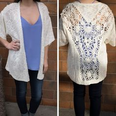Check out the crochet detail on this beautiful light-weight cardi! Pair with a colorful tank for the perfect look. Also, it's a nice #refresher for your closet this week  Cardigan: $39 Tank: $26 #shoplocal #shopal #ALmissoula