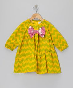 Look at this #zulilyfind! Green & Yellow Zigzag Bow Dress - Infant, Toddler & Girls by Right Bank Babies #zulilyfinds