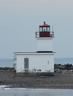 The Parrsboro lighthouse at the entrance to the harbour.  You can see the lighthouse from many spots in the community.  This was taken from the beach.