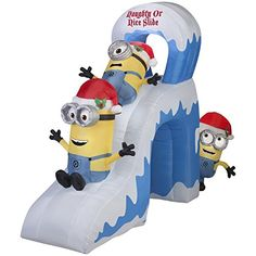 CHRISTMAS INFLATABLE 10 MINIONS NAUGHTY OR NICE SLIDE WITH KEVINSTUART & BOB BY GEMMY @ niftywarehouse.com #NiftyWarehouse #DespicableMe #Movie #Minions #Movies #Minion #Animated #Kids