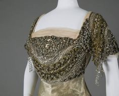 Evening Dress Bodice Trimmed with Bugle Beads, Seed Beads, & Rhinestones. English, c. 1910.