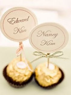 Edible Place Card, instead of Ferroro Roche, make my golden Oreo truffles instead...hmm, yummy
