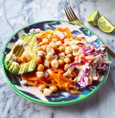 Cheddar Sweet Potato Noodle Bowl w/Spicy Chickpeas & Slaw {vegetarian & gluten free} http://elizabethpalmerkitchen.com/cheddar-sweet-potato-noodle-bowl-wspicy-chickpeas-slaw/