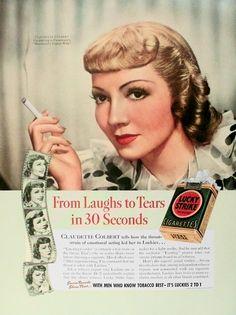 Claudette Colbert Lucky Strike Cigarettes 30 s Color Painting print art Original Vintage Art Advertising Ads, Vintage Advertisements, Vintage Ads, Vintage Prints, Vintage Ephemera, Vintage Images, Vintage Antiques, Chesterfield Cigarettes, Vintage Cigarette Ads