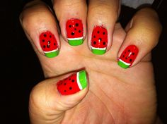 Watermelons anyone? Quick and easy nail design
