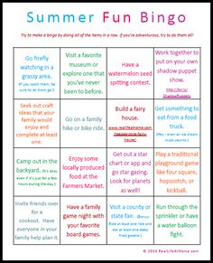 Have you seen all of the huge summer bucket lists on Pinterest? Here's a low pressure, family fun, 16 item, very doable list, that you can even do Bingo-style and just try for one column or row completed.