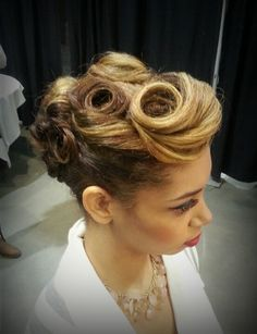 Pin up hairstyle I did for Premier Bridal Show!