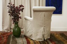 slipcover club chair | Details about CALISTA modern BEIGE linen slipcover CLUB chair