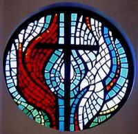 cross and flame stained glass
