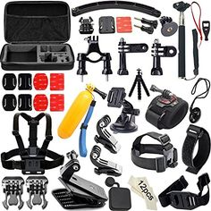【Carrying Case】- Large Size. Shockproof. Waterproof. It's very convenient to keep all accessories and your camera together. A necessity for traveling and outdoor sports. 【Various Straps】- 360-degree Rotation Wrist Strap with a screw fix your GoPro on the wrist,the angle can be adjusted freely;Flexible Chest Harness is used to equip your action camera comfortably; Vented Helmet Strap...