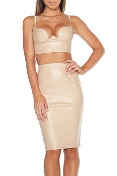 Lo Lo Leatherette Two Piece- Nude - Alyanna by Alexandra