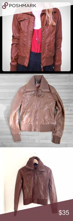 """Urban Outfitters Faux Leather Brown Bomber Sparkle & Fade Faux Leather Bomber Jacket -  Overview:* 100% Polyurethane, polyester* Spot clean* Imported* 25""""l from shoulder to hem* size small. W: 14 1/2' in excellent condition. No rips, stains, or tears. Urban Outfitters Jackets & Coats"""
