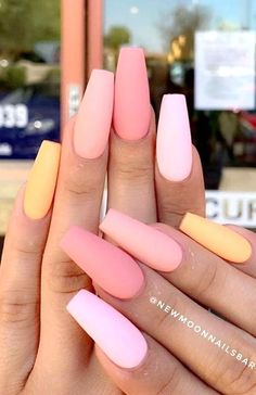 Coffin Acrylics, Coffin Nails, Best Acrylic Nails, Matte Nails, Matte Pink, Summer Nails, Spring Nails, Pink Summer, Peach Nails