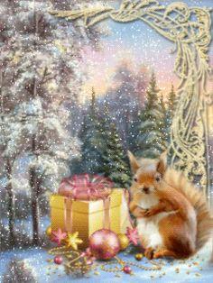 Белочка с подарочком - анимация на телефон №1200464