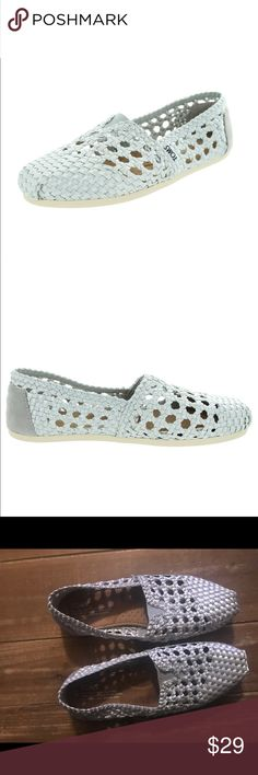 Silver wicker toms shoes Toms silver wicker shoes sz 8 worn once Toms Shoes Flats & Loafers