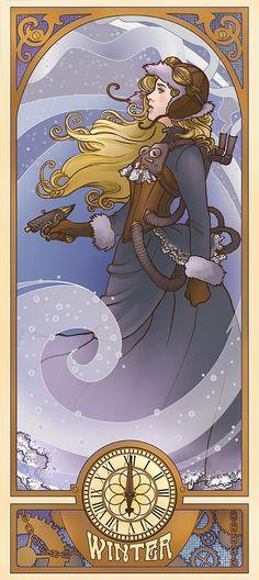 "Mucha Style Steampunk Illustration in style of ""Alphonse Mucha"" Digital Art, Illustrations And Posters, Character Design, Steampunk Artwork, Illustration, Fantasy Art, Art Nouveau, Art, Dieselpunk"