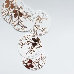 Wedding stationery details with copper foil illustrations