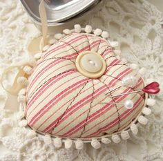 Heart Pincushion by creativepapertrail on Etsy, $7.95