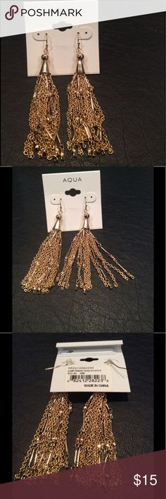 Aqua Esmeralda Fringe Tassels Gold Brand new I don't see any flaws Aqua Jewelry Earrings