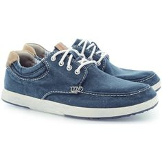 hippe Clarks norwin vibe navy canvas heren sneakers (Blauw)