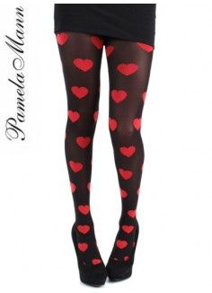 Large Red Hearts Tights