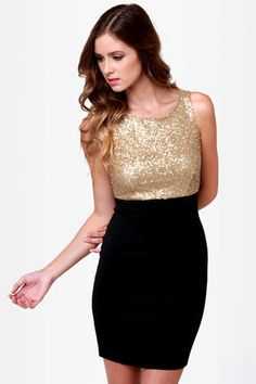 If you like your goodies with some glamour, then the Goldy Two Shoes Black and Gold Sequin Dress should strike your fancy! Gold sequin bodice with a fitted black skirt. Pretty Outfits, Beautiful Outfits, Gold Sequin Dress, Gold Sequins, New Years Eve Dresses, Gold Outfit, Gowns Of Elegance, Elegant Gowns, Dressy Dresses