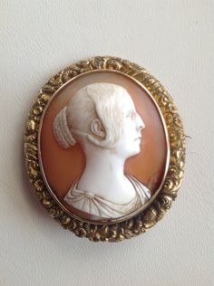 Late Georgian Cameo Brooch Carved Shell Female Figure 10k Gold by victoriansentiments on Etsy
